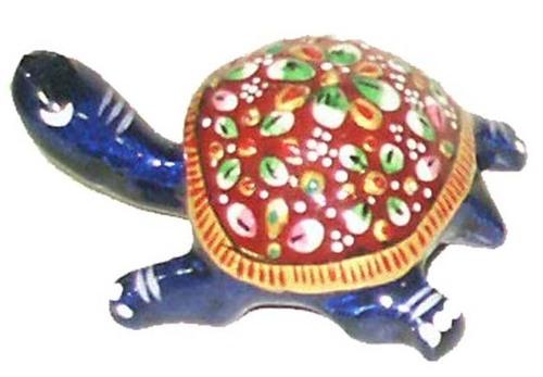 Metal Meena Kari Tortoise Figurine