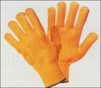 Poly Cotton Knitted Gloves With Criss Cross Pvc