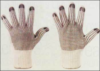 Poly Cotton Knitted Gloves with PVC Dots