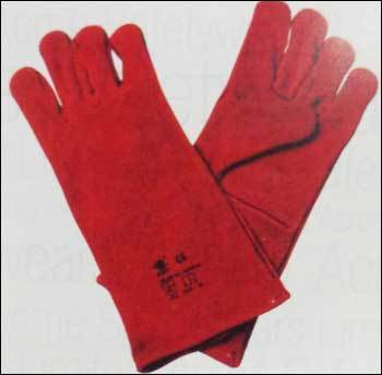 Red Split Welding Welding Leather Gloves With Lining