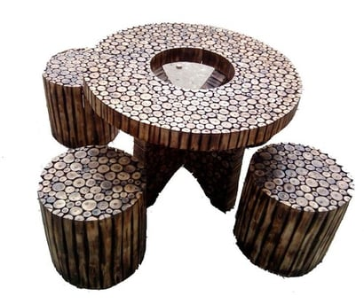 Antique Round Log Coffee Table Set