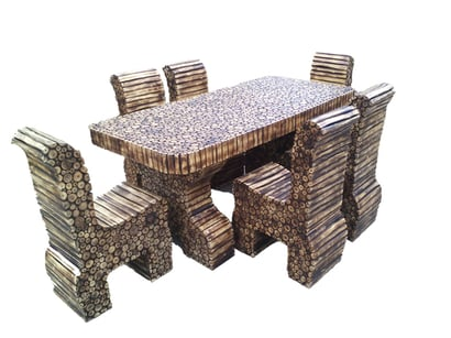 Natural Log Dining Table With 6 Chairs