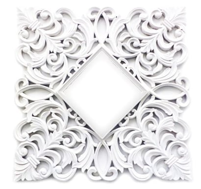 White Cutting Square Wooden Carved Mirror Frame