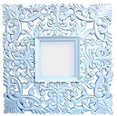 Wooden Cutting Square Carved White Mirror Frame