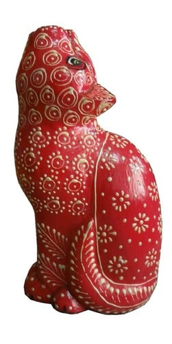 Embossed Home Decor Wooden Cat