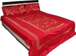 Silk Embroidered Bedspreads Bed Cover Silk With 5 Piece Set