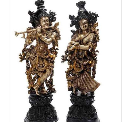 Handcrafted Radha Krishna Statues With Fine Antique Work