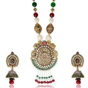 Sia Peacock Crafted Ethnic Necklace Set