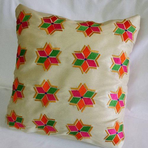 Rdf Classic All Over Phulkari Embroidery Designer Cushion Cover In