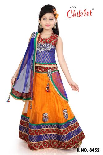 d4164226a Chaniya Choli Blue With Orange For Girls - UJALA FASHION PVT. LTD ...