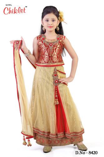 6e56b334d Girls Chaniya Choli Red With Fawn - UJALA FASHION PVT. LTD.
