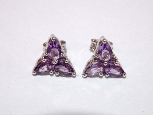 Amethyst Stud Earrings 925 Sterling Silver in  Sohna Road