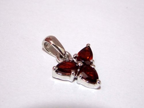 Garnet Pendant Natural Gemstone 925 Sterling Silver
