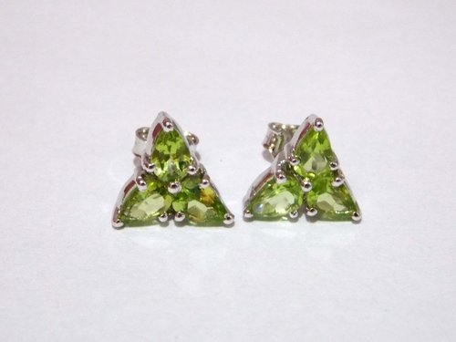 Peridot Stud Earrings 925 Sterling Silver
