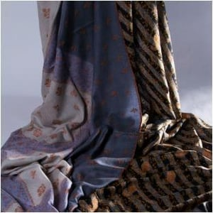 Check And Stripes Embroidered Pashmina Shawls
