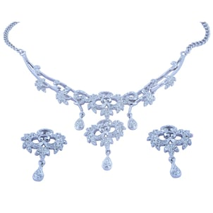 Rhodium Plated Necklace Set With Earring Studded With Godsend Stone WGN-602 R