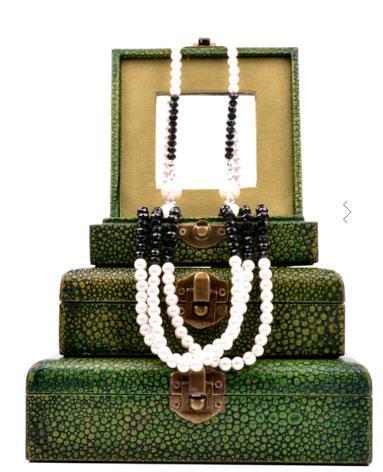 Green Shagreen Jewellery Box Set