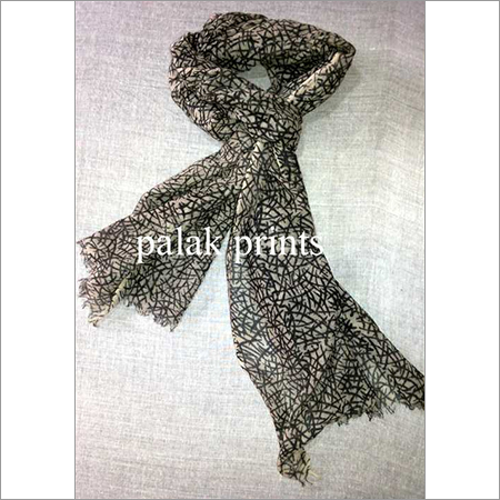 Attractive Silk Wool Block Printed Stole