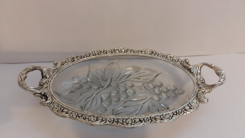 Big Silver Glass Tray