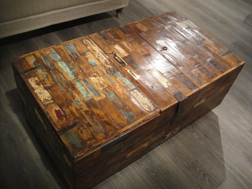 Old Reclaimed Teak Wood Coffee Table Chest