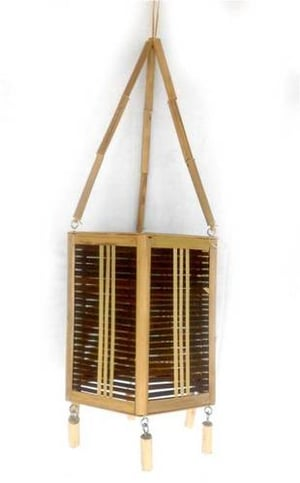 Bamboo Hanging Lamp With Holder And Wire