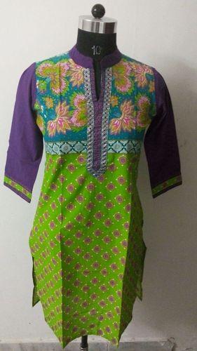 Purple And Green Designer Printed Multicolour Kurti