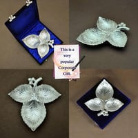 The Leaf Trio - Silver Plated Designer Brass Serving Trays