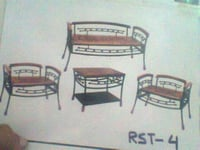 Wrought Iron Wooden Sofa Chair Table (175)