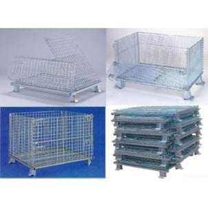 Folding Stackable Storage Wire Mesh Basket Container