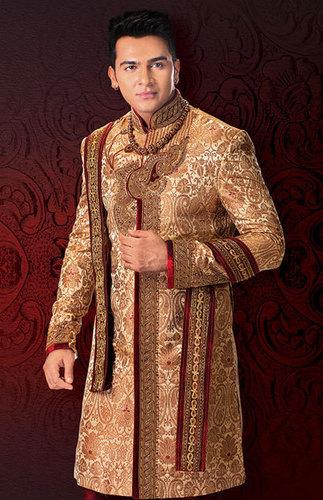 Beige Stylish Cut Rich Brocade Indo-Western Sherwani