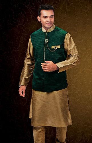 Green Khaki Loop Gundi Jaquard Jacket Set