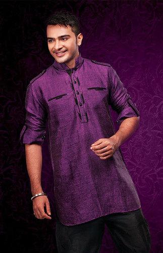 Purple Linen Short Pathani Kurta