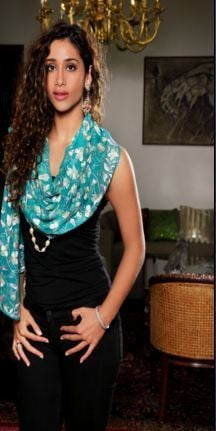 Aqua Marine With White Embroidery Stoles