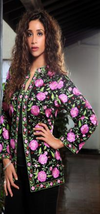 Pink Flowers Embroidered Black Jacket