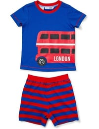 Kids Blue and Red Printed Shorts Sleeve Nightwear