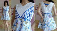 Blue And White Cotton Skater Dress