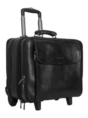 Laptop Trolley Overnight 2 Wheel Genuine Leather Travel Executive Briefcase Bags