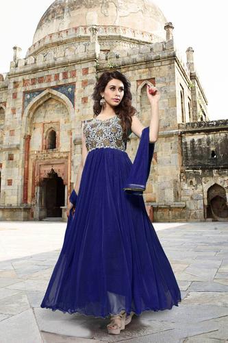 Blue Heavy Designer Georgette Anarkali Suits
