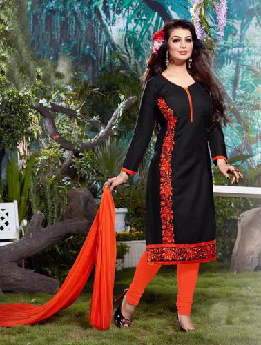 Cotton Embroidered Designer Black Straight Suits