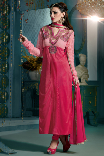 Embroidered Designer Pink Straight Suits