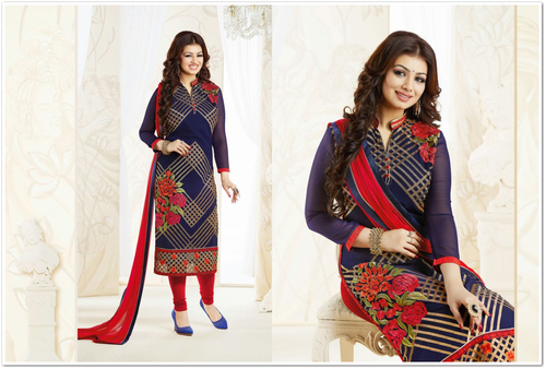 Georgette Embroidered Designer Navy Blue Straight Suits