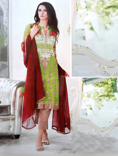Georgette Embroidered Designer Parrot Straight Suits