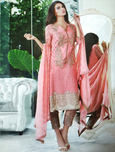 Georgette Embroidered Designer Pink Straight Suits