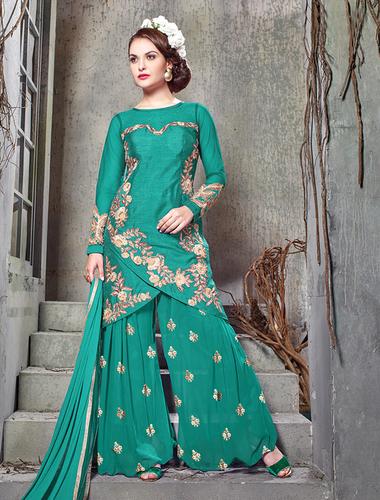 Aqua Bhagalpuri Silk With Embroidery Straight Suit
