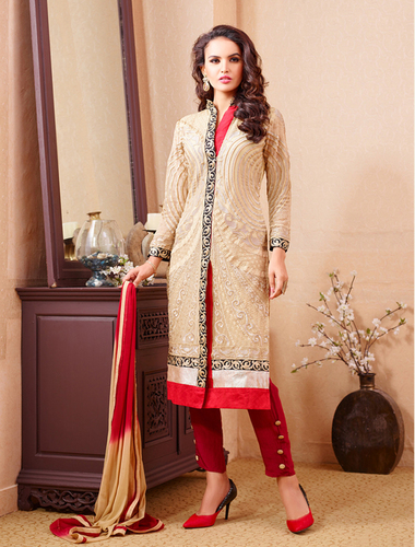 Beige And Maroon Party Wear Straight Suit