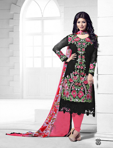 Black And Pink Heavy Embroidery Straight Suit
