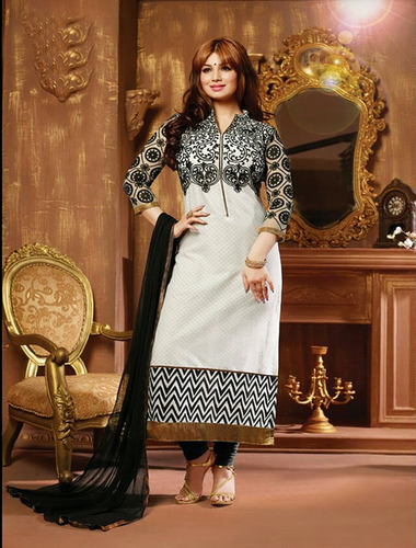 Black And White Cotton Straight Suit