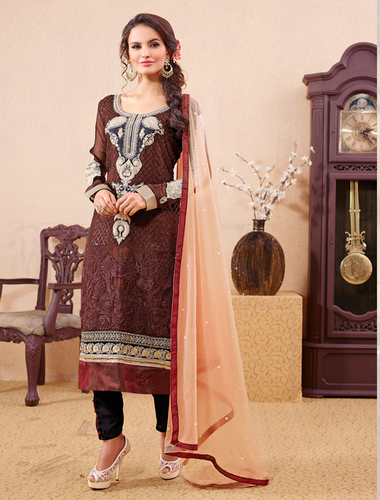Brown Party Wear Straight Suit
