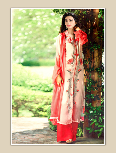 Cream Georgette Party Wear Straight Suit