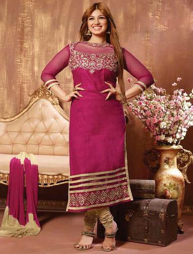 Dark Pink Cotton Straight Suit